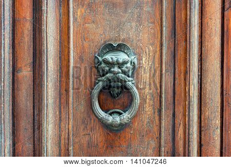 Iron lion doorknob on the old weathered wooden door in Florence Italy