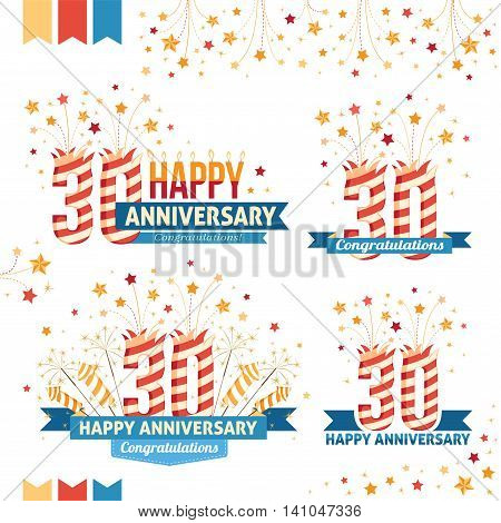 Anniversary 30th emblems with fireworks numbers sparklers and ribbons with congratulations. Set of 30th anniversary design elements.