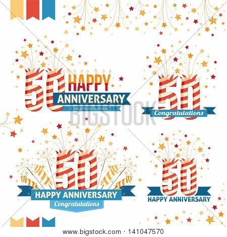 Anniversary 50th emblems with fireworks numbers sparklers and ribbons with congratulations. Set of 50th anniversary design elements.