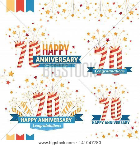 Anniversary 70th emblems with fireworks numbers sparklers and ribbons with congratulations. Set of 70th anniversary design elements.