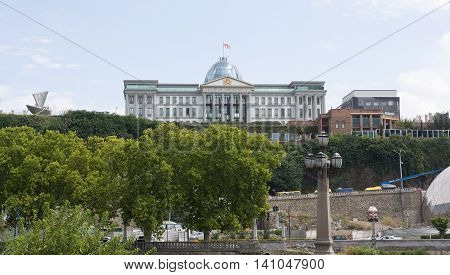 TBILISI, GEORGIA - AUGUST 08, 2013: The Official residence of Georgian President in Tbilisi. The city Tbilisi has a population of 1.5 million people