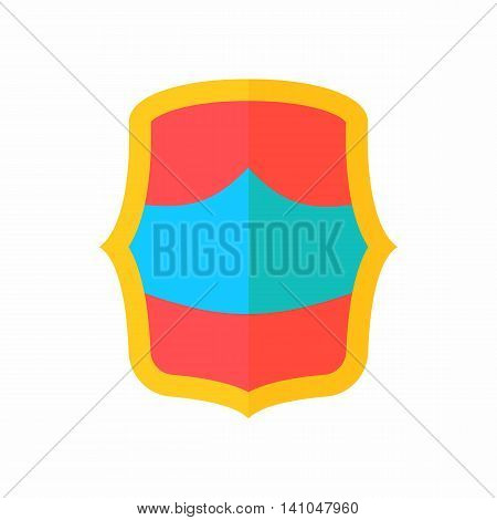 Red-blue battle shield icon in flat style isolated on white background. War symbol
