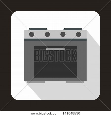 Gas stove icon in flat style with long shadow. Home appliances symbol