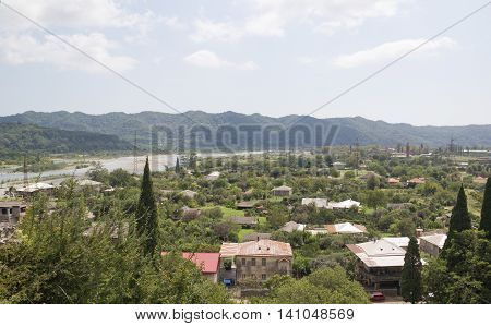 Top view on the village Bzyb in Abkhazia