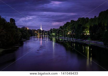 Torino panorama at twilight with river Po and Mole Antonelliana