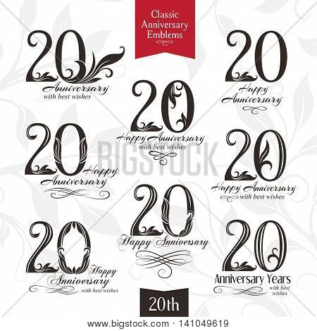 20th anniversary emblems. Templates of anniversary birthday and jubilee symbols