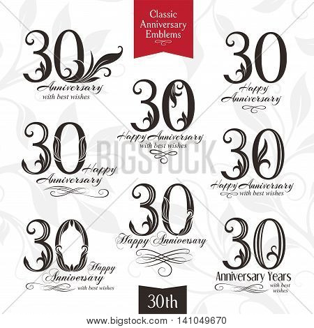 30th anniversary emblems. Templates of anniversary birthday and jubilee symbols
