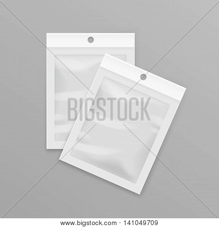 Vector White Sealed Empty Transparent Plastic Pocket Bags with Hang Slot Close up Isolated on Background