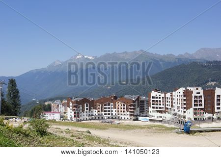 SOCHI,RUSSIA -14 AUGUST,2014: Mountain Olympic village at Rosa Khutor, Krasnaya Polyana - the place of residence of the athletes of the winter Olympic games 2014