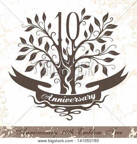 Anniversary 10th emblem tree in classic style. Template of anniversary birthday and jubilee emblem with copy space on the ribbon.