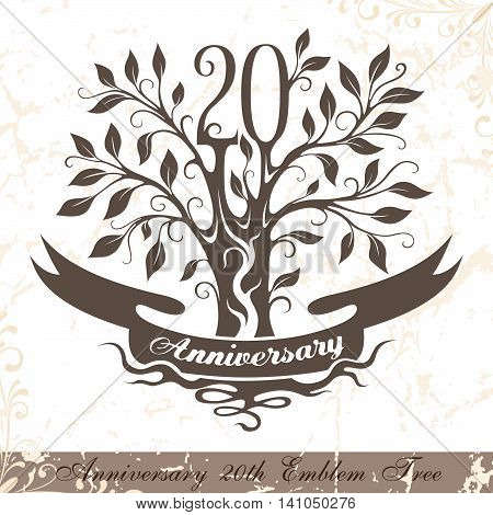 Anniversary 20th emblem tree in classic style. Template of anniversary birthday and jubilee emblem with copy space on the ribbon.