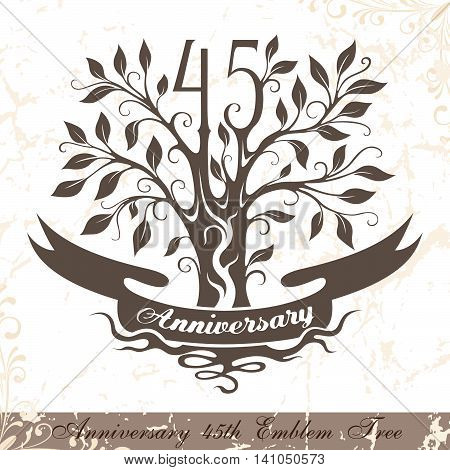 Anniversary 45th emblem tree in classic style. Template of anniversary birthday and jubilee emblem with copy space on the ribbon.