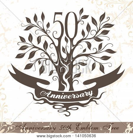 Anniversary 50th emblem tree in classic style. Template of anniversary birthday and jubilee emblem with copy space on the ribbon.