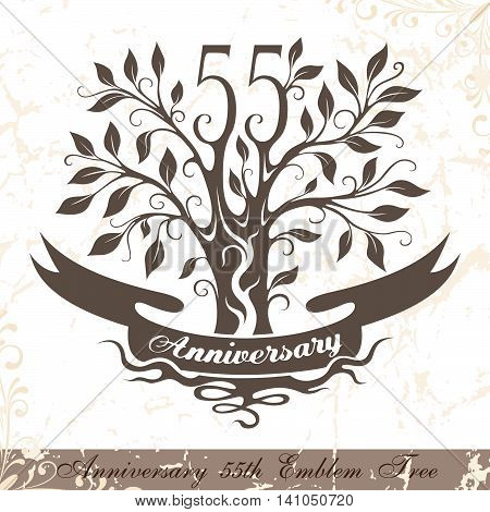 Anniversary 55th emblem tree in classic style. Template of anniversary birthday and jubilee emblem with copy space on the ribbon.