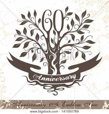 Anniversary 60th emblem tree in classic style. Template of anniversary birthday and jubilee emblem with copy space on the ribbon.