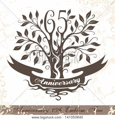 Anniversary 65th emblem tree in classic style. Template of anniversary birthday and jubilee emblem with copy space on the ribbon.