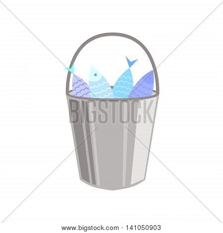 Metal Bucket Full OF Fish Bright Color Cartoon Simple Style Flat Vector Illustration Isolated On White Background