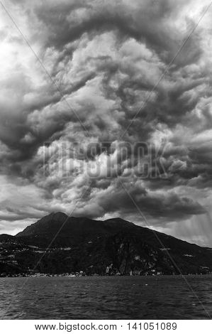 Stormy clouds over Lake Como in Italy, Europe