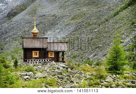 Orthodox Church in Altai Mountains, Belukha Glacier, Russian Federation
