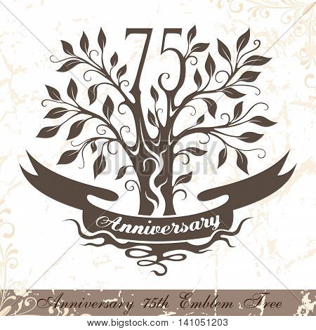 Anniversary 75th emblem tree in classic style. Template of anniversary birthday and jubilee emblem with copy space on the ribbon.