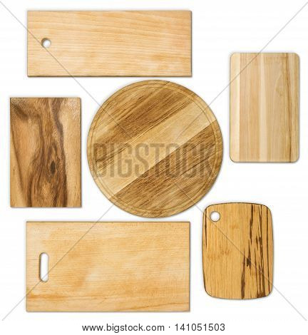 set of chopping different  old  boards isolated on white