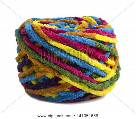 Colorful ball of woolen yarn isolated on white background