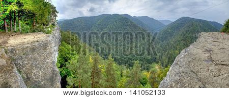 View of the beautiful mountains in the panoramic scene. View from Tomasovsky Vyhlad in Slovak Paradise National Park.