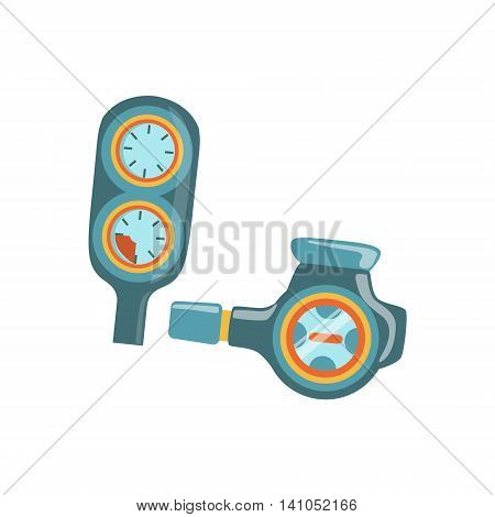 Regulator Second Stage With Depth And Pressure Gauges Console Bright Color Cartoon Simple Style Flat Vector Illustration Isolated On White Background