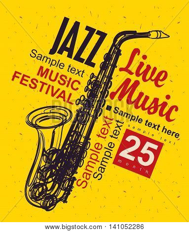 Music poster with a picture of a saxophone jazz festival