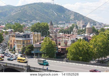 TBILISI, GEORGIA - 7 AUGUST,2013: Top view of Tbilisi . Tbilisi is the capital of the Republic of Georgia