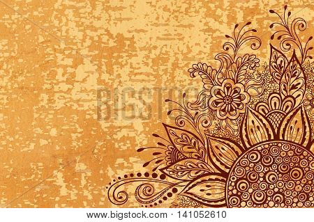 Calligraphic Vintage Pattern, Symbolic Flowers and Leafs, Abstract Floral Outline Ornament, Brown Contours on Wood Texture, Underside Fallow Birch Bark