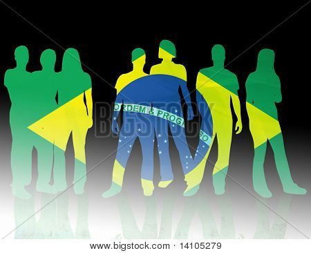 national flag brazil of people silhouettes