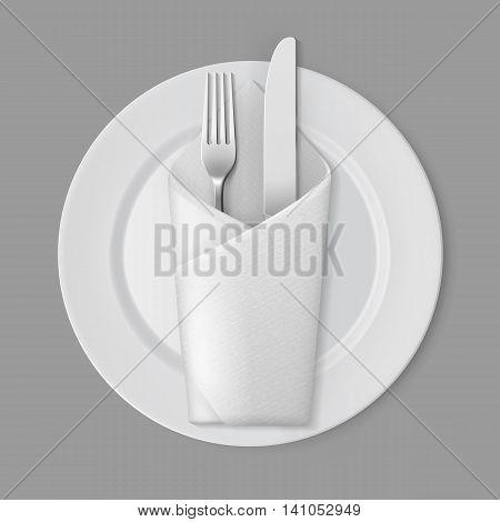 Vector White Empty Flat Round Plate with Silver Fork and Knife and White Folded Envelope Napkin Top View Isolated on Background. Table Setting