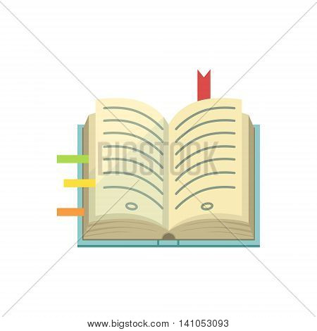 Book With Post It Stickers As Bookmarks Bright Color Cartoon Simple Style Flat Vector Illustration Isolated On White Background