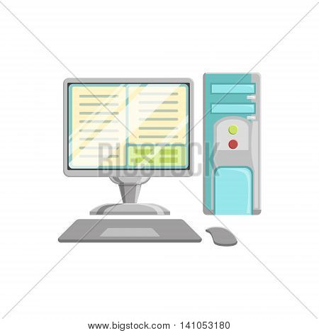 Computer With Keyboard And Mouse Controller Bright Color Cartoon Simple Style Flat Vector Illustration Isolated On White Background