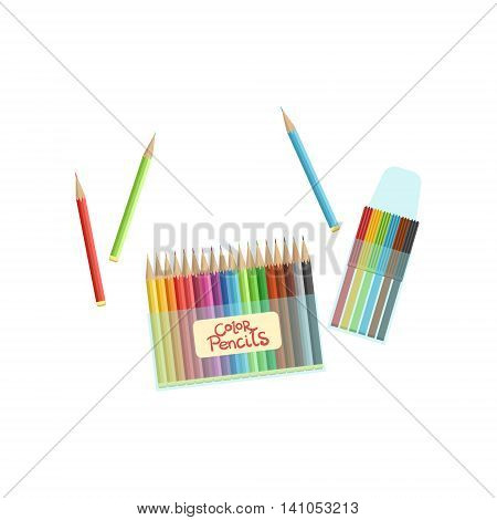 Packs Of Crayons And Colorful Pencils Bright Color Cartoon Simple Style Flat Vector Illustration Isolated On White Background