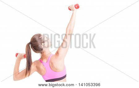 Female Doing Exercises With Pair Of Dumbbells