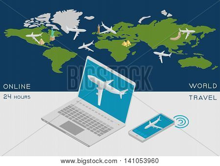 Online service for booking air tickets worldwide, operating 24 hours. World map with an airplane, a laptop and smartphone in an isometric view.