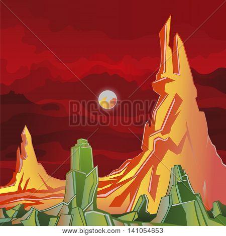 Alien Planet fantasy world rocks and red sky
