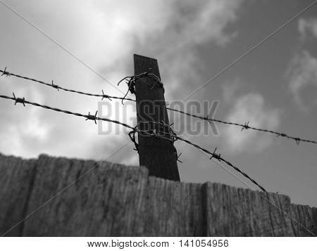Steel barb wire on a fence under cloudy sky black and white Australia 2016