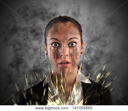 Woman with shocked expression smoke and sparks