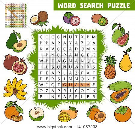 Vector Color Crossword About Fruits. Word Search Puzzle