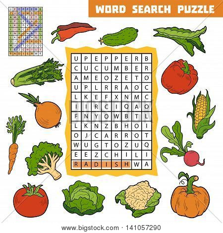 Vector Color Crossword About Vegetables. Word Search Puzzle