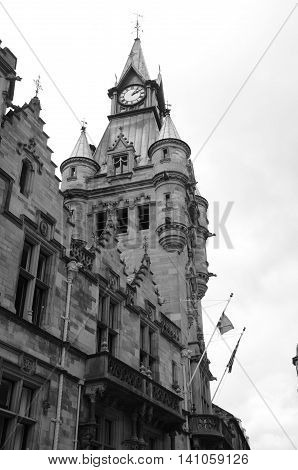 A view of the elegant clock tower building in Dunfermline