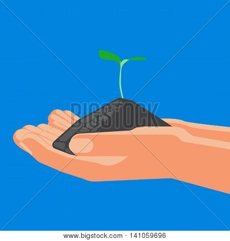 Agricultural concept, sprout with soil in the hands, colorful vector flat illustration