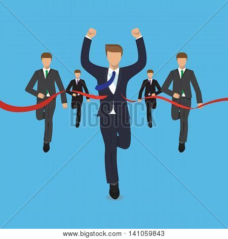 Ahead the competition concept, man is victoriously running ahead of his rivals, colorful vector flat illustration