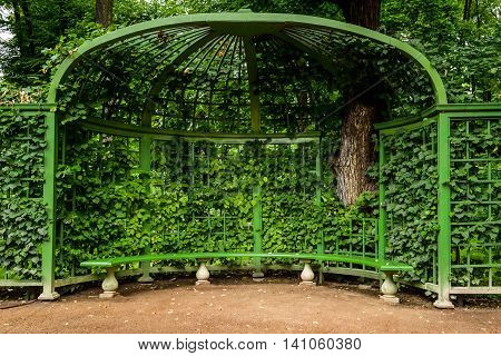 gazebo with bench in the Park Summer Garden St.Petersburg Russia.