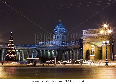 St. Petersburg Nevsky Prospect illuminated by lights at night the Russian Federation Kazan Cathedral