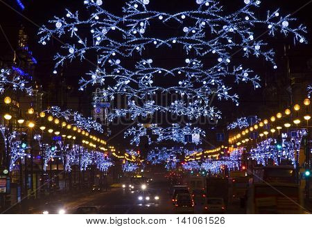 St. Petersburg Nevsky Prospect illuminated by lights at night the Russian Federation