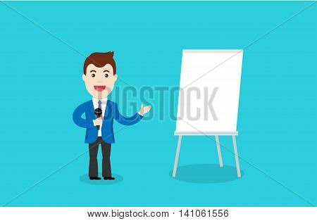 Man in a suit and with microphone standing near flipchart. Business Training vector illustration. Speaking to the audience concept.